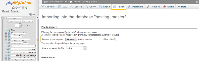 Import Database MySQL